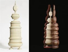 A carved oval ivory canister tower (height 64.2 cm, 25 1/2 in.) by Achilles Agamemnon Hermansreyt, 1657