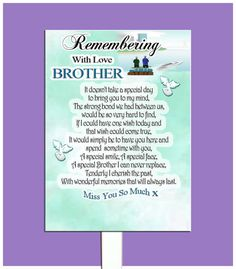 BROTHER GRAVESIDE MEMORIAL  BEREAVEMENT CARD AND FREE HOLDER