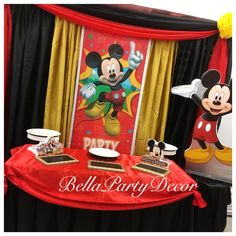 Mickey Mouse main table dessert table backdrop by BellaPartyDecor