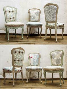 Sillas estilo Luis XV pintadas y tapizadas con una variedad de telas de diferentes estampados. Studio Alis - Barcelona