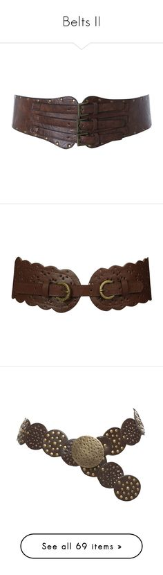 """Belts II"" by savagedamsel ❤ liked on Polyvore featuring accessories, belts, medieval, cintos, women, polyurethane belt, buckle belt, tan belt, miss selfridge and fantasy"