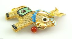 Cute Vintage 1950s Chinese Gold on Silver Filigree Enamel Donkey Brooch Pin   eBay