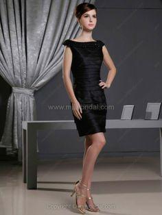 Sheath/Column Bateau Satin Short/Mini Rhinestone Party Dresses