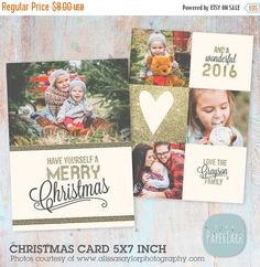 50% OFF Christmas Card Template - Gold Glitter- Photoshop template - AC025 - INSTANT Download