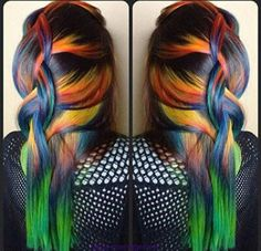 Rainbow mixed dyed hair color