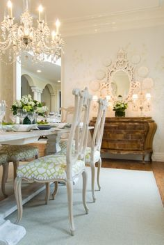 Donna Benedetto Designs - dining rooms - Chinoiserie Dining room, Venetian Mirror, Bombay chest, sisal rug, Windsor Smith Fabric, white washed dining table, whitewashed dining table,