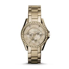 Riley Multifunction Beige Gold-Tone Stainless Steel Watch. Really interesting color!