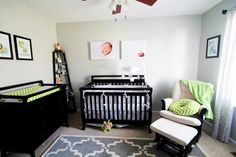 I like this, but turquoise instead of the lime green.. Nice and simple nursery love the rug