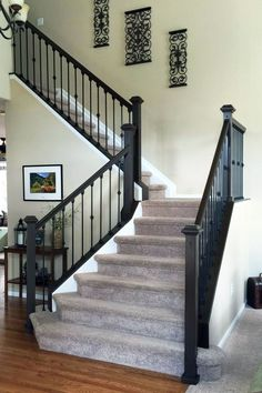 Pictures of Painted Stairs Ideas #PaintedStairsIdeas White Painted Stairs Ideas