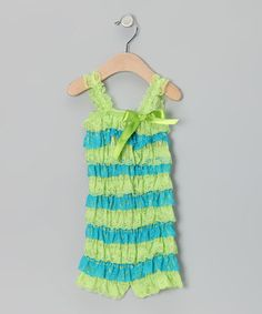 Look what I found on #zulily! Lime & Aqua Lace Ruffle Romper - Infant & Toddler by Sparkle Adventure #zulilyfinds