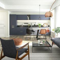 """""""Hygge"""" ist der Begriff für dänische Gemütlichkeit und gilt heute als Trend für moderne Wohnräume. Diese Küche in grauer Beton-Optik spiegelt dies wider, überzeugt durch ihre nordische Geradlinigkeit und fügt sich ideal in die helle Wohnumgebung ein. #siemenshome #siemenshomeat #enjoysiemens #küchenideen #kitchenideas #kitchendesign #interior #küchentraum #küchenplanung Küchen Design, Hygge, Eames, Modern, Lounge, Chair, Furniture, Home Decor, Kitchen Inspiration"""