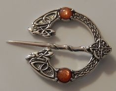Celtic RAVEN Brooch in solid .925 Sterling SILVER - Medieval Fly Plaid Penannular Brooch Cloak Pin with Gemstone choice