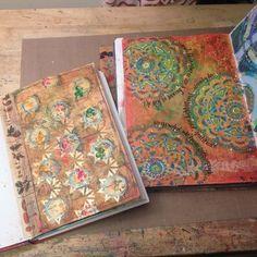 Mixed Media Art Journal pages by Gwen Lafleur using StencilGirl stencils.