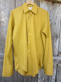 Mustard Dress Shirt w/ French Cuff Sleeves by Royal Knight, Men's M-L // Vintage Button-up Long Sleeve Shirt Mellow Yellow, Mustard Yellow, Mustard Dressing, French Cuff, Cuff Sleeves, Collar Shirts, Preppy, Button Up, How To Look Better