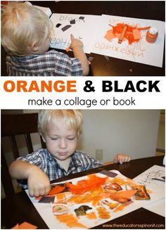 It's easy to make a Collage with your toddler using items you have in your craft closet- better yet, make a few and turn it into a kid-made color word book Preschool Learning Activities, Play Based Learning, Autumn Activities, Infant Activities, Preschool Crafts, Reading Activities, Halloween Theme Preschool, Halloween Crafts For Kids, Toddler Halloween