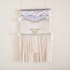 weaving wall hanging / white pyramid tapestry / by HAZELANDHUNTER