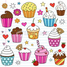Cupcake Doodles Vector Design Elements