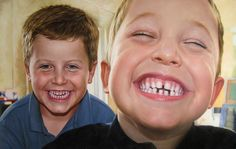 One of our all time favourites here, created by one of our best artists a while ago. Two cheeky brothers, 'gappy grin included.  Hand Painted - Oil on Canvas (from supplied photo). Closeup of painting (see board for other shots). This is a close up of the original - see the board for more shots.