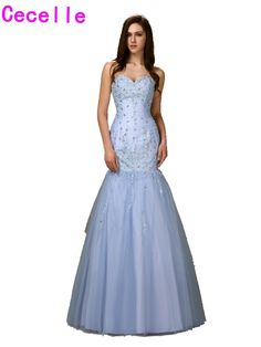 2017 Real Blue Long Mermaid Prom Dresses Long Sweetheart Beaded Tulle Girls Formal Evening Prom Gowns Custom Made High Quality