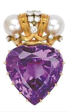 Amethyst, Cultured Pearl, Diamond and 14K Gold Pendant The heart-shaped amethyst weighing approximately 35.00 carats, topped by a pair of cultured pearls and small round diamonds