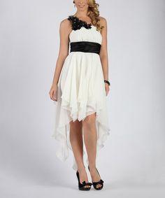 Look what I found on #zulily! Ivory & Black Handkerchief Hi-Low Dress #zulilyfinds