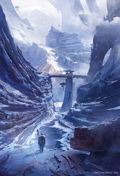 #airships #2d digital #snow-landscape #sketch #art #painting #ioan-dumitrescu #illustration #steampunk #digital-art #landscape