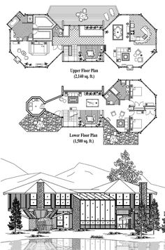 , 3 Bedrooms, 2 Baths, Premiere Collection by Topsider Homes A Frame House Plans, Cabin House Plans, House Layout Plans, Small House Plans, House Layouts, House Floor Plans, Octagon House, Hut House, Pool House Designs
