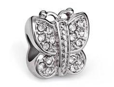 Stainless Steel Butterfly European Bead • Fits Pandora Charm Bracelets  Fits most European charm bracelets