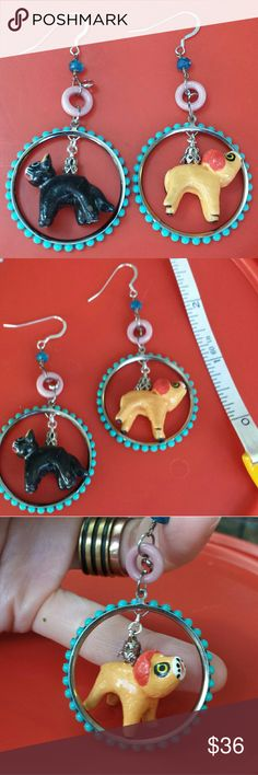 """Funky Boho Clay Animal Bead Earrings Rawr rawr meow meow!  Hear the call of these fun OOAK handmade earrings.  They are made of authentic Guatemalan clay beads,  vintage 1960's hoops, vintage Czech pink ring bead, apatite gem beads, & Swarovski peach dangles. The shepherd hooks are sterling silver. Measures 3"""" long. Handmade Jewelry Earrings"""