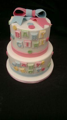 Bany shower gender reveal cake