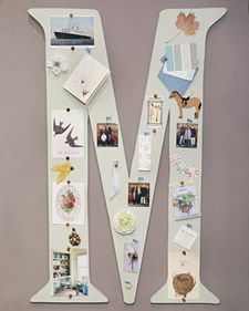 Kids' Monogram Corkboard -- cool idea!  Make one letter or spell out your child's full name for a fun way to display memos and mementos.