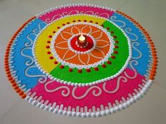 Easy and multicolour diwali special rangoli design. by DEEPIKA PANT - YouTube