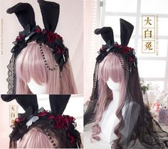 Lolita Vintage KC Rabbit Bunny Ears Gothic Lace Veil Headband Hair Band Cosplay #Handmade #Headbands