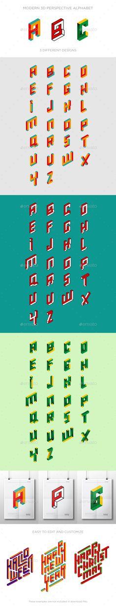 3D Alphabet Logo Letters - Decorative Symbols Decorative