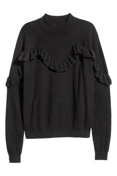 Knitted frilled jumper: Fine-knit ribbed jumper in a soft cotton and viscose blend with a stand-up collar, frilled yoke at the front and long raglan sleeves.
