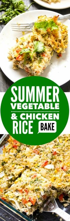 10 minute prep easy, cheesy Summer Vegetable Chicken and Rice Bake bursting with cheesy sweet heat the whole family will go crazy for. AD MinuteMealsSweeps