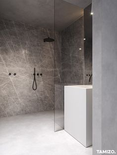 41 Superb Home Stone Interior Design Ideas You Need To Try Now Luxury Homes Interior, Apartment Interior Design, Bathroom Interior Design, Interior Decorating, Contemporary Bathroom Designs, Modern Bathroom, Master Bathroom, Grey Marble Bathroom, Tamizo Architects