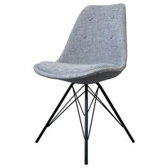 Buy this Fusion Living Eiffel Inspired Light Grey Fabric Dining Chair & Black Metal Legs for a modern edge in your living or work space.