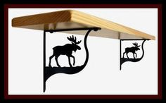 Moose Shelf Support by Maine Home Journal. $53.50. Made in America. Crafted from Iron with a black matte finished.. Finish is baked on for durability.. This decorative iron shelf support has a baked on flat black powder coating for the traditional ironwork look. This fine iron product is made in America.