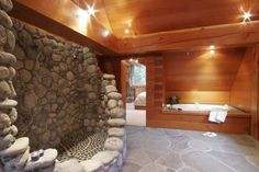 Bathroom Showers Made Of Rock | MASTER BATHROOM ROCK SHOWER FOR TWO AND BATH TUB WITH HEATED FLOORS