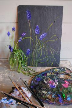 Blue flowers (muscaris) Odile Bailloeul- http://odilebailloeul.blogspot.com/