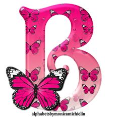 Alphabets by Monica Michielin: ALFABETO BORBOLETA ROSA, PINK BUTTERFLY ALPHABET B Letter Design, Alphabet Letters Design, Alphabet And Numbers, Butterfly Clip Art, Butterfly Wallpaper, Pink Butterfly, Butterflies, Calligraphy Tattoo Fonts, Calligraphy Alphabet