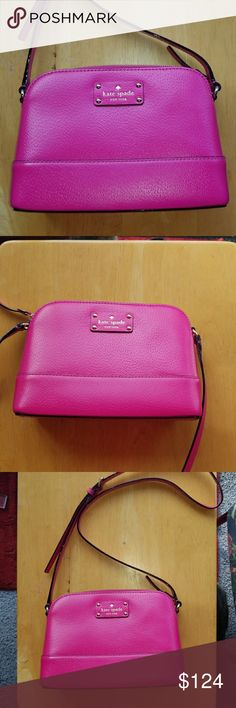 Authentic Kate Spade Wellesly Hanna I LOVE pink. So I bought this. Never use it because it is too small. My eyes are so sensitive to sun I always have to have sunglasses with me and with the sunglass case That is all that it fits ! Approx dimensions re 9 IN L x 6.5 IN H X 2.5 IN W. This bag is in perfect shape !! No dust bag. kate spade Bags Crossbody Bags