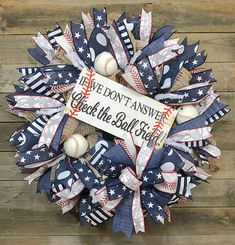 Baseball Wreaths, Sports Wreaths, Summer Wreath, 4th Of July Wreath, Dog Wreath, Wreath Making Supplies, Trendy Tree, Wreath Crafts, Deco Mesh Wreaths