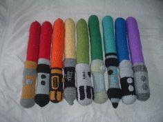Crochet Lightsaber Rainbow COMPLETED!!!! by Nanettew9 on deviantART