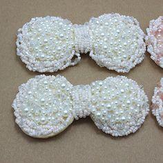 Bling marfim pérola arcos DIY handmade arcos Bowknot Flatback de sapatos headband acessórios de cabelo vestido