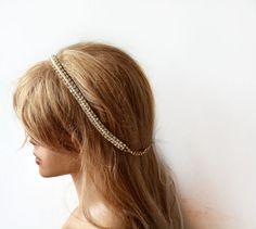 Wedding Pearl  Headband, Pearl Bridal Headband, Gold Rhinestone and Pearl Headband, Bridal Hair Accessories, Wedding Hair Accessories