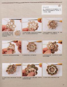 sequencia para flor em crochet