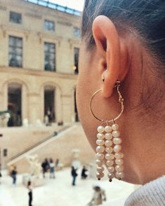 "@empejewelry on Instagram: ""The triple row earrings✨ #empejewelry#custom#pearls"" The Row, Drop Earrings, Pearls, Instagram, Jewelry, Jewlery, Jewels, Beads, Jewerly"