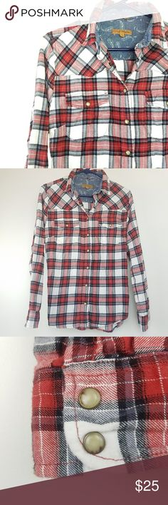 Jachs Girlfriend • 'Bea' Flannel Red, black, blue and white snap up flannel features double chest pockets, snap cuffs that can be rolled and secured and paisley print inside cuffs. 100% soft cotton.  Excellent gently preloved condition with no rips, holes or stains.  No holds,  trades or off-posh transactions. Jachs Girlfriend Tops Button Down Shirts